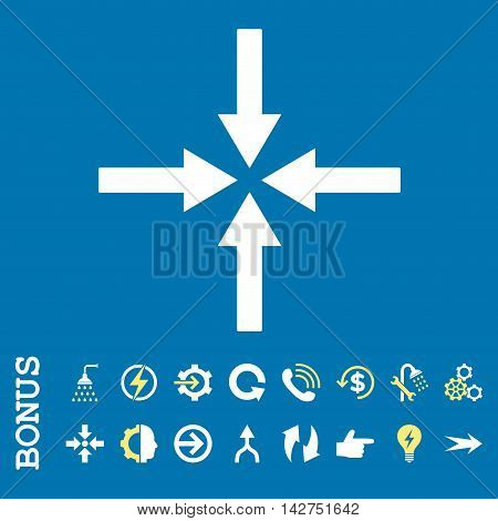Impact Arrows vector bicolor icon. Image style is a flat iconic symbol, yellow and white colors, blue background.