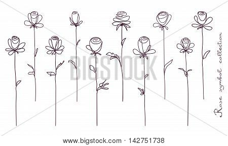 Roses. Collection of isolated rose flower sketch on white background. The continuous line doodled design.