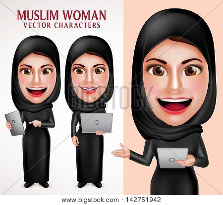 Muslim woman vector character set holding laptop and tablet with friendly beautiful smile wearing hijab and islamic clothing standing in white background. Vector illustration.