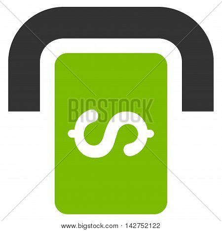 Cashpoint Terminal icon. Glyph style is bicolor flat iconic symbol with rounded angles, eco green and gray colors, white background.