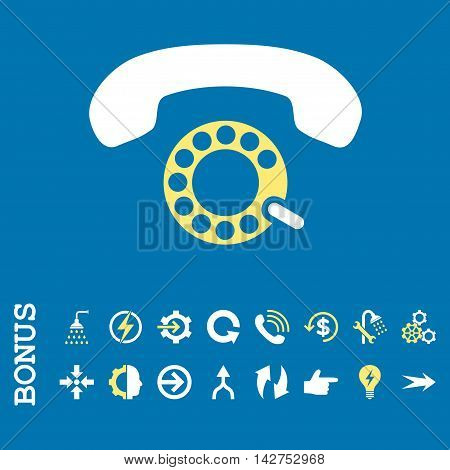 Pulse Dialing vector bicolor icon. Image style is a flat iconic symbol, yellow and white colors, blue background.
