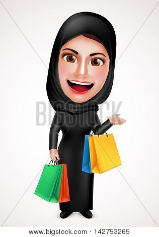 Female muslim arab vector character holding shopping bags wearing hijab and islamic dress with friendly beautiful smile in white background. Vector illustration.