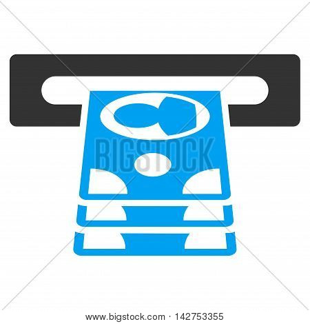 Cashpoint icon. Vector style is bicolor flat iconic symbol with rounded angles, blue and gray colors, white background.