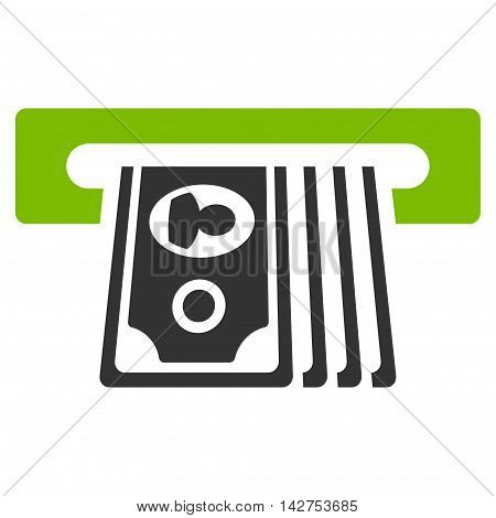 ATM Insert Cash icon. Vector style is bicolor flat iconic symbol with rounded angles, eco green and gray colors, white background.