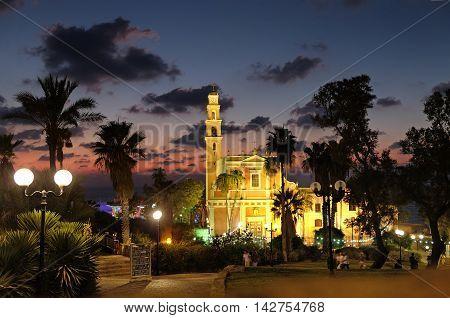 JAFFA ISRAEL - AUGUST 07 2016: Roman Catholic Church of St. Peter in old Jaffa
