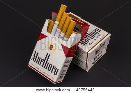 Indianapolis - Circa August 2016: Packs of Marlboro Cigarettes. Marlboro is a product of the Altria Group XII
