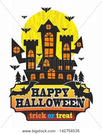 Vector Halloween Haunted Maison Illustration, isolated on white background