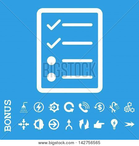 Checklist Page vector icon. Image style is a flat pictogram symbol, white color, blue background.