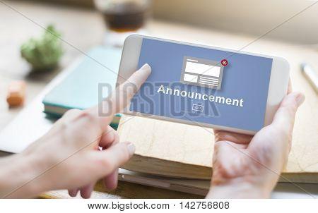 Announcement News Broadcast Article Concept