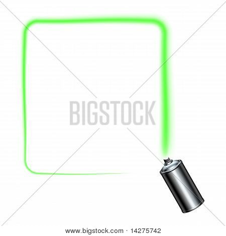 Spray Can Spraying A Green Square Border With Rounded Corners