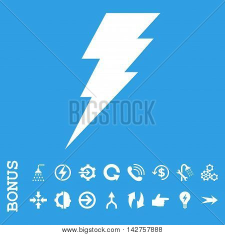 Execute vector icon. Image style is a flat pictogram symbol, white color, blue background.