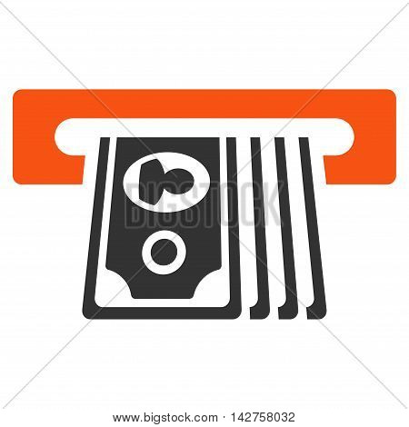 ATM Insert Cash icon. Vector style is bicolor flat iconic symbol with rounded angles, orange and gray colors, white background.
