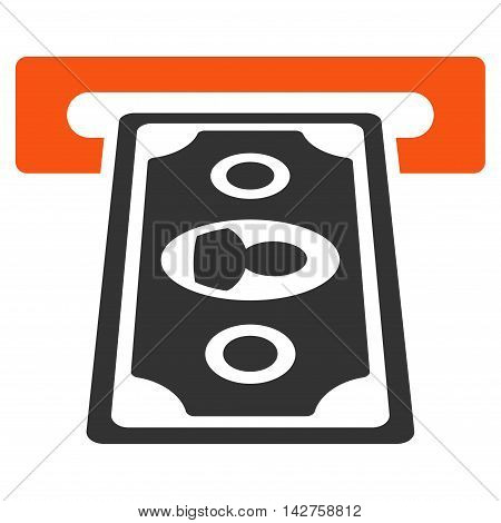 Cashpoint Terminal icon. Vector style is bicolor flat iconic symbol with rounded angles, orange and gray colors, white background.