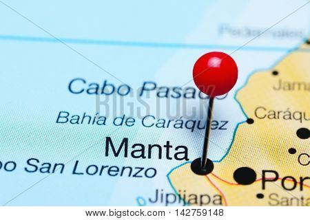 Manta pinned on a map of Ecuador