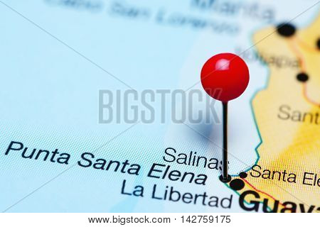 Salinas pinned on a map of Ecuador