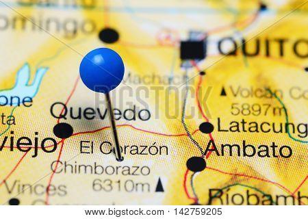 El Corazon pinned on a map of Ecuador