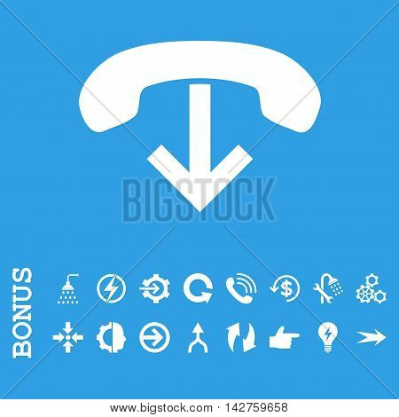 Phone Hang Up vector icon. Image style is a flat pictogram symbol, white color, blue background.