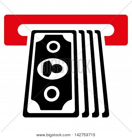 Cashpoint Terminal icon. Vector style is bicolor flat iconic symbol with rounded angles, intensive red and black colors, white background.