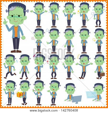 Set of various poses of frankenstein Halloween