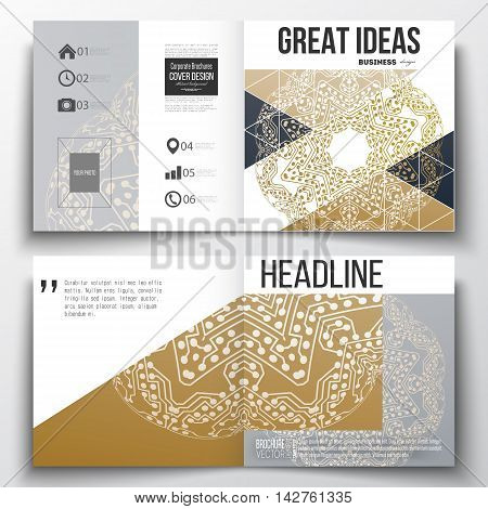 Set of annual report business templates for brochure, magazine, flyer or booklet. Golden microchip pattern, connecting dots and lines, connection structure. Digital scientific background.