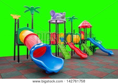 Closeup colorful playground with Prevent injuries yard on isolated green background
