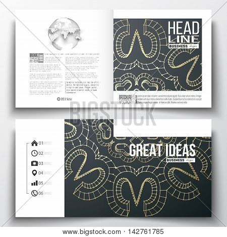 Set of annual report business templates for brochure, magazine, flyer or booklet. Polygonal backdrop with golden connecting dots and lines, connection structure. Digital scientific background.
