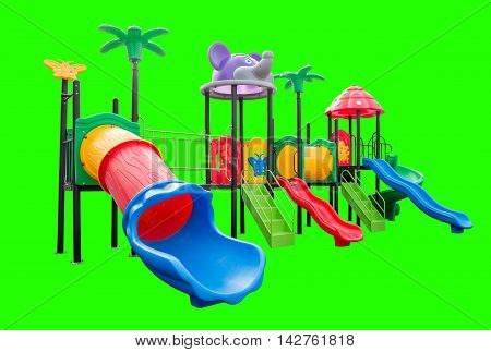 Colorful playground full set on isolated green background