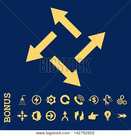 Centrifugal Arrows vector icon. Image style is a flat pictogram symbol, yellow color, blue background.