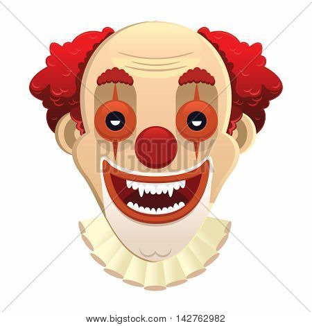 Vector Scary Clown Face Illustration, isolated on white background