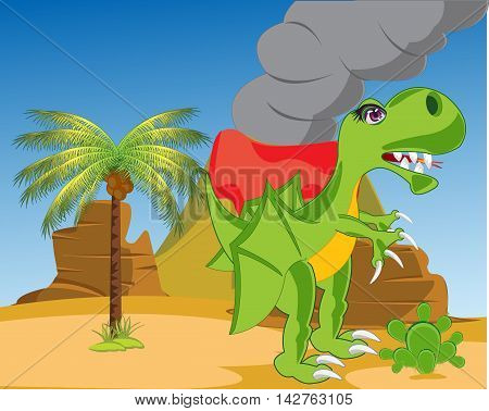 The Prehistorical dinosaur in desert with acting vulcan.Vector illustration