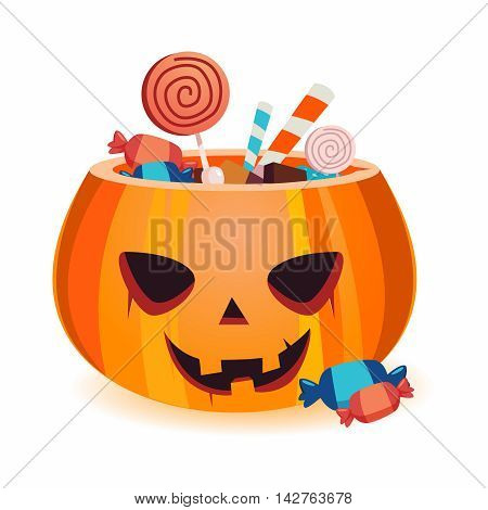 Vector Halloween Candy Pumpkin Basket Illustration isolated on white background