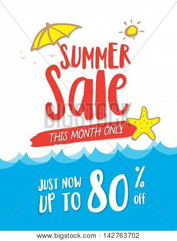 Summer Sale Heading Design On Wave And Cute Hand Draw Style For Banner Or Poster. Sale And Discounts