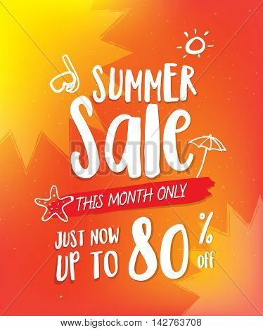 Summer Sale Heading Design On Orange And Cute Hand Draw Style For Banner Or Poster. Sale And Discoun