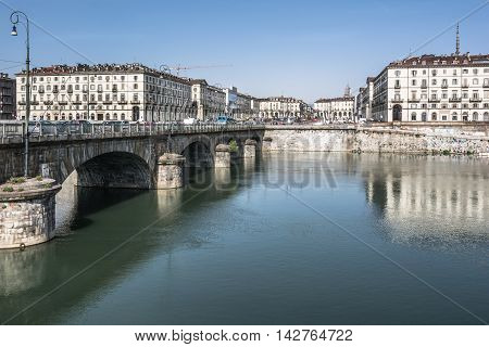 Turin,Italy,Europe - April 5, 2014 : View of the Po river and Vittorio Square