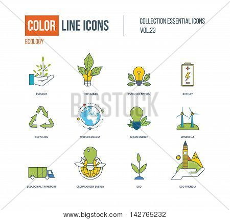 Color thin Line icons set. Ecology, green energy, think green, recycling, world ecology, ecological transport, eco, windmills, battery, organic eco friendly Colorful logo and pictograms
