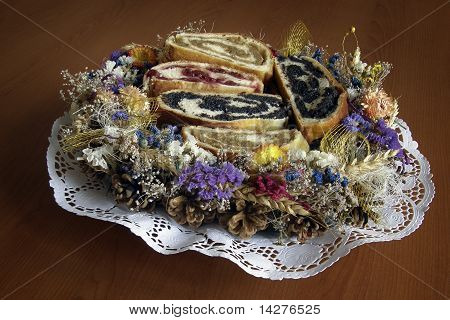 Strudel on a plate decorated