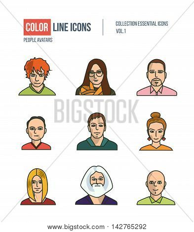 People collection BUSINESS. Set of various men and women: programmer, sales, managers, mixed age in flat style icons. Logo and pictograms for websites, banners, infographic illustrations.