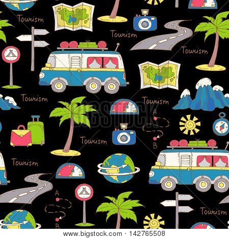 Vector seamless pattern with hand drawn colored symbols of car travel on black color. Pattern on the theme of tourism. Background for use in design packing web site fabric