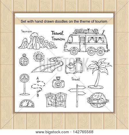 Vector set with hand drawn isolated doodles of tourism symbols. Illustration on the theme of car travel. Sketches for use in design web site packing textile fabric