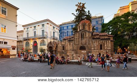ATHENS, GREECE - AUGUST 14, 2016: People in the main shopping street of Athens on August 14, 2016.