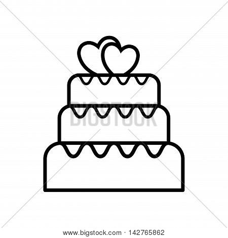 cake bakery heart married wedding icon. Isolated and flat illustration.