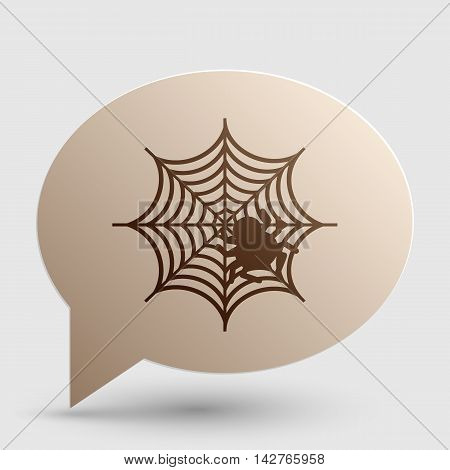 Spider on web illustration Brown gradient icon on bubble with shadow.
