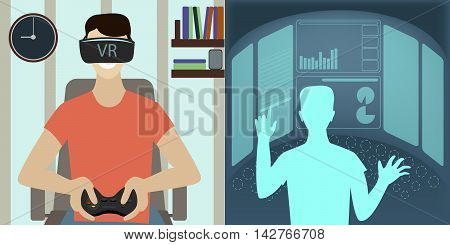 virtual reality glasses to a man the virtual game