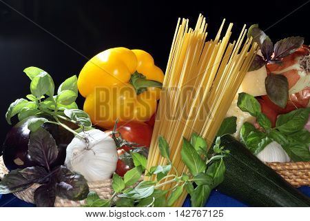 Spaghetti With Vegetables And Cheese