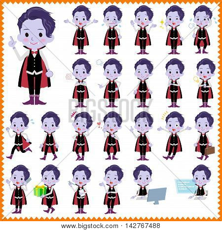 Set of various poses of Dracula  Halloween