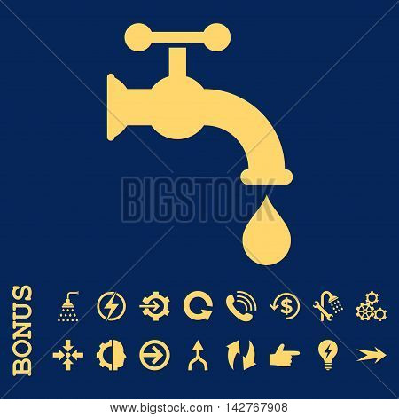 Water Tap vector icon. Image style is a flat iconic symbol, yellow color, blue background.