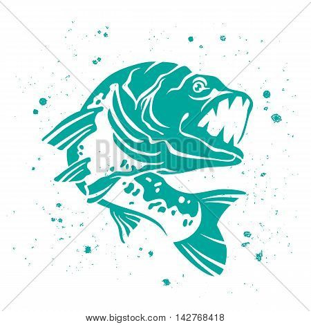 Predatory pike. The stylized image of fish. Vector illustration on white background with paint splashes. Concept design for fishing.