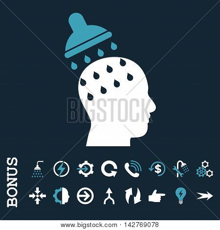 Brain Washing vector bicolor icon. Image style is a flat pictogram symbol, blue and white colors, dark blue background.