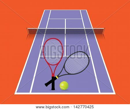 Tennis court with racket and ball vector illustration.