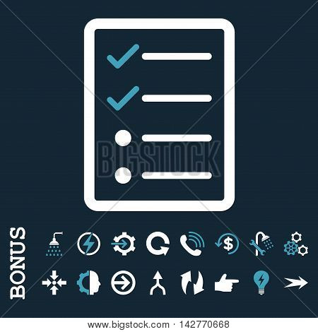 Checklist Page vector bicolor icon. Image style is a flat iconic symbol, blue and white colors, dark blue background.
